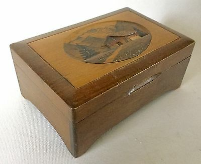 Old Swiss THORENS Wood Music Box Chalet Carved Top Vintage Antique
