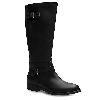 Miso Womens Mai Casual Riding Boots Zip Stretch Panelling Equestrian Shoes