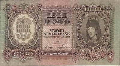 1943 1000 Pengo Hungary Currency Gem Unc Banknote Note Money Bank Bill Cash Wwii