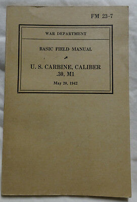 WWII 1942 US Army Original FM 23-7 US Carbine .30 Cal M1 Field Booklet
