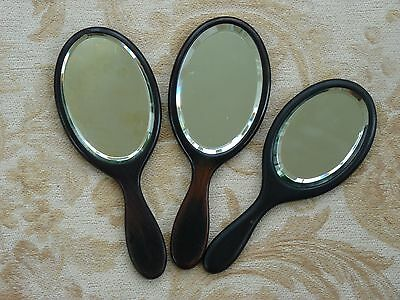 3 VINTAGE 1930s 1940s EBONY HAND MIRRORS BEVELLED MIRROR GLASS  * ORIGINAL COND.
