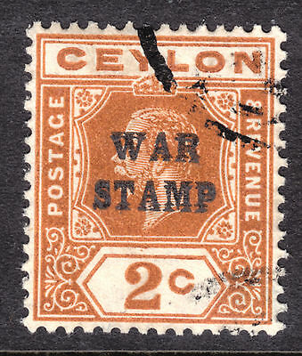 "CEYLON #MR1a 2c BROWN ORANGE, 1918 ""DOUBLE OVERPRINT"" WAR TAX, F, CDS"