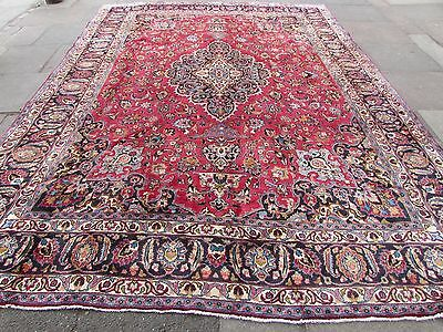 Old Traditional Hand Made Persian Rug Oriental Pink Wool Large Carpet 385x287cm