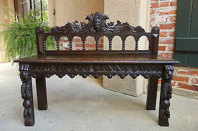 Antique French Carved Oak Window Table Display Stand BENCH Renaissance GOTHIC