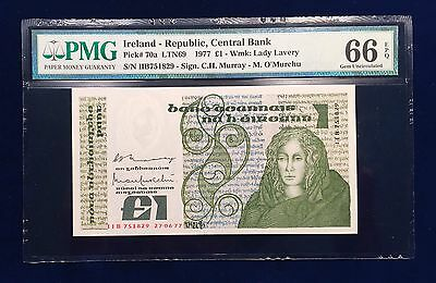 Ireland 1977  P-70a PMG Gem UNC 66 EPQ -  1 Pound - Early Date