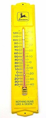 "Vintage JOHN DEERE 12"" Metal Outdoor Yellow THERMOMETER Advertising Sign"