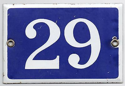 Old blue French house number 29 door gate plate plaque enamel metal sign steel
