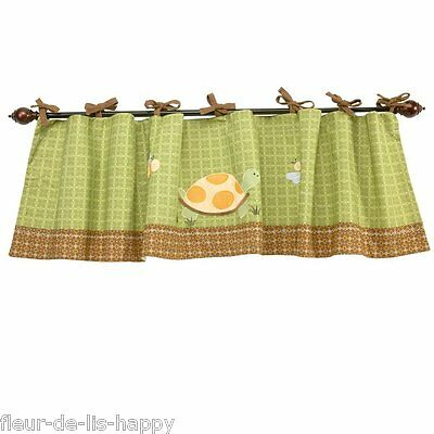 NoJo ~ FROGGY FRIENDS Window Valance ~ Green Brown Yellow Applique Turtle NEW