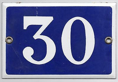 Old blue French house number 30 door gate plate plaque enamel metal sign steel