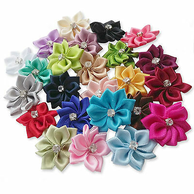 10pcs Satin Ribbon Flower Rose Embellishments Crafts Card Scrapbooking