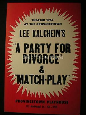 1967 A Party For Divorce & Match Play 13.5x20 Theatre WINDOW CARD Q14