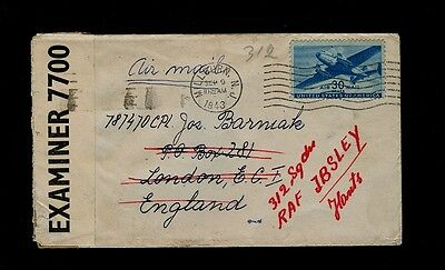 WWII US-Censored cover from Milburn, NJ to London forwarded to RAF IBSLEY