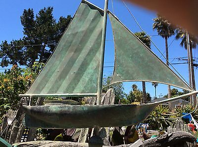 Antique Copper Weather Vane Sailboat