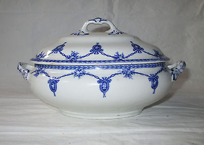 Keeling Losol Ware KINGSTON Gravy / Sauce Bowl with Lid & Handles, Blue c 1910s