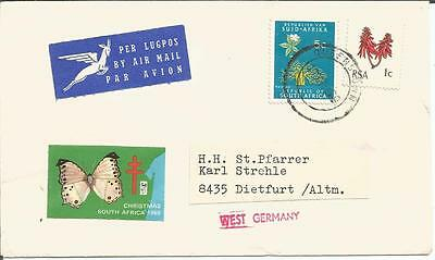South Africa Christmas 1969 Cinderella Label / Seal on Cover to Dietfurt Germany