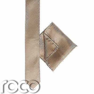 Boys Gold Pocket Square, Boys Gold Tie, Striped Tie, Boys Skinny Tie