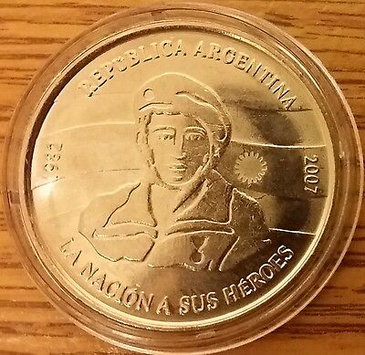 Argentina $2 2007 25th Anniversary Malvinas Falkland Islands War Coin in Capsule