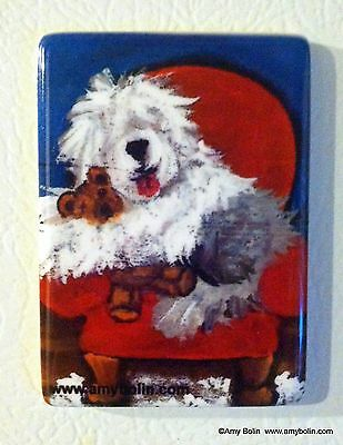 CERAMIC TILE MAGNET RECTANGULAR OLD ENGLISH SHEEPDOG JUST ME & TED by Amy Bolin