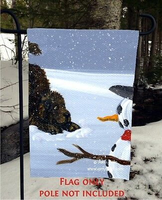 BROWN NEWFOUNDLAND dog my snowy friend 12 By 18 Garden flag no pole By Amy Bolin