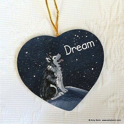 ALASKAN MALAMUTE CERAMIC HEART SHAPE  ORNAMENT by Amy Bolin DREAM