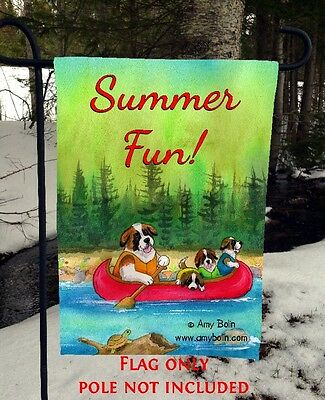 St Bernard dogs Canoe Saints On The River 12 x 18 Garden flag no pole Amy Bolin