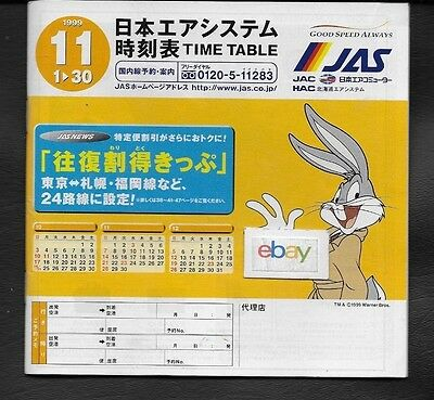 Jas Japan Air System 11-1-99 System Timetable Bugs Bunny-A300-777 Rainbow Jet