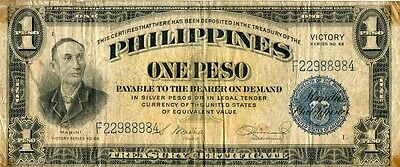 Paper Money Philippines 1945 1 peso VICTORY,# F30036615