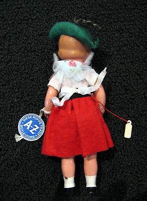 "Vintage German 6"" Celluloid Doll Girl with Tag Diese Puppe Tragt A-Z Bekleidung"