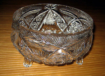 Antique American Brilliant Cut Glass Signed Libbey 3 Footed Bowl Hobstar NICE