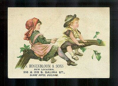 Children Play Horsie Up In A Tree-Victorian Trade Card-SALE