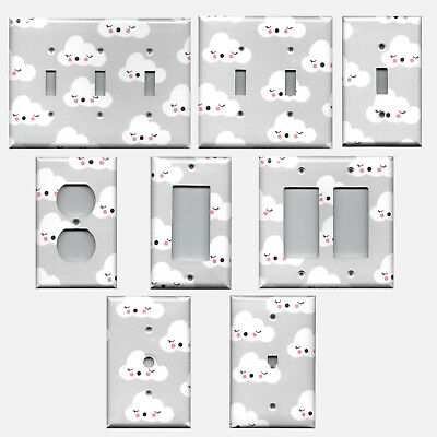 Gender Neutral Baby Nursery Gray with White Clouds Light Switch & Outlet Covers