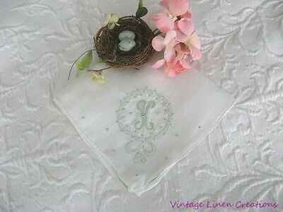 Sublime VINTAGE Pale Mint EMBROIDERY * MONOGRAM K or H * BRIDAL Wedding HANKY