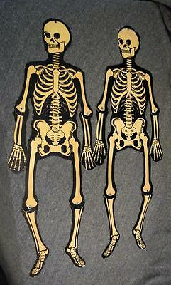 "Vintage Die Cut Jointed Halloween Skeletons x2 24"" Tall"