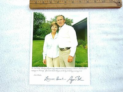 Autographed Picture/Photo Of President George Bush And First Lady Laura Bush