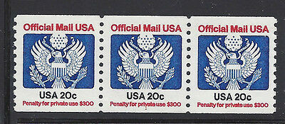 UNITED STATES O135 MNH 20c OFFICIAL PLATE NUMBER STRIP OF THREE, PNC