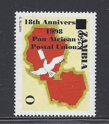 Zambia 1020 Mnh Dove Holding Letter, Map **inverted Overprint**read Description*