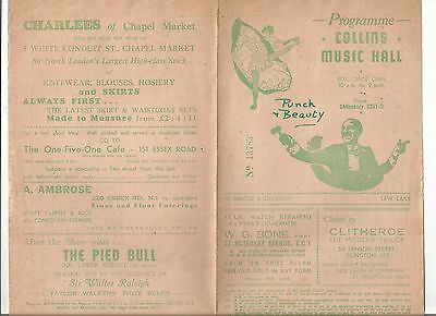Collins Music Hall Programme 'Punch and Beauty' week commencing December 17th