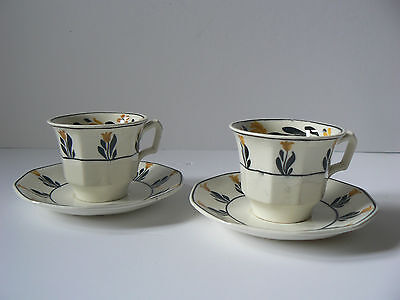 CRESCENT IVORY George Jones Sons Heals c 1910 England Coffee Cup Can Saucer X2