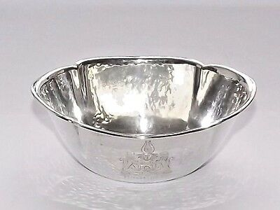 ANTIQUE WILKENS & SOHN GERMAN SOLID SILVER BOWL HAMMERED HANNOVER CREST c1900