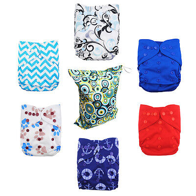 6 Alva Baby Boy Reusable Waterproof PUL Diaper Covers + 1 Wetbag as Gift  In US