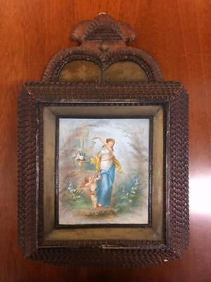 Wooden Victorian Wall Mounting Offering Box Tramp Art With Stipple Engraving