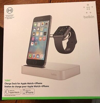 Belkin Valet Charge Dock for Apple Watch and iPhone Charging Silver
