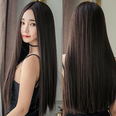 "Women Natural Brown Hair 28"" Long Straight Synthetic Part Bang Wig Cosplay Party"