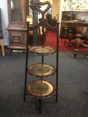 19th Century Antique Wooden Victorian Mahogany Three Tiered Cake Stand
