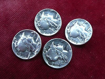 Superb Antique Rare Art Nouveau Set Of 4 Solid Hallmarked Silver Buttons 1902