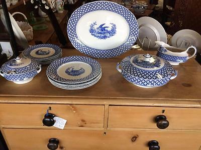 Vintage 1920's Coronaware Chantilly Blue & White Part Dinner Service Tureens Etc