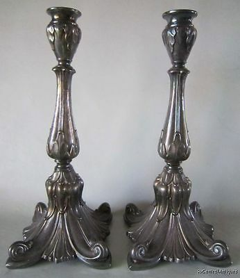 Antique Judaica FRAGET W WARSZAWIE POLISH Silver Plate SABBATH CANDLESTICKS 12""