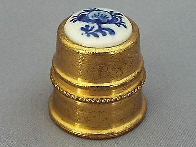 Brass Thimble - Hand-Painted Delft Apex