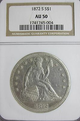 1872 S $1 Seated Liberty Dollar NGC AU50 Key Date