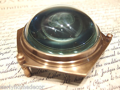 "4"" Vintage Antique Style Solid Brass Heavy Glass Magnifying Desk Lens Magnifier"